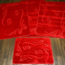 ROMANY MATS WASHABLES FULL SET MATS/RUGS NEW BOW REGULAR SIZES NON SLIP RED.